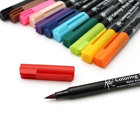 маркеры Koi акварельные перо кисть в ассортименте цена 20100 руб