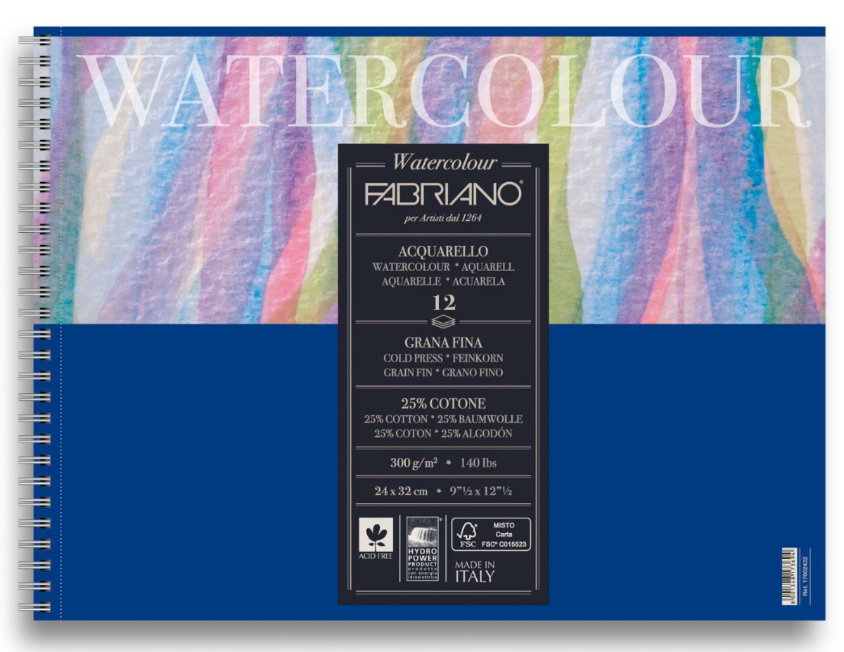 Альбом для акварели WATERCOLOUR STUDIO 300г/кв.м 240х320мм grain fin (среднее зерно) 12л, хлопок 25%, спираль по 834.00 руб от Fabriano