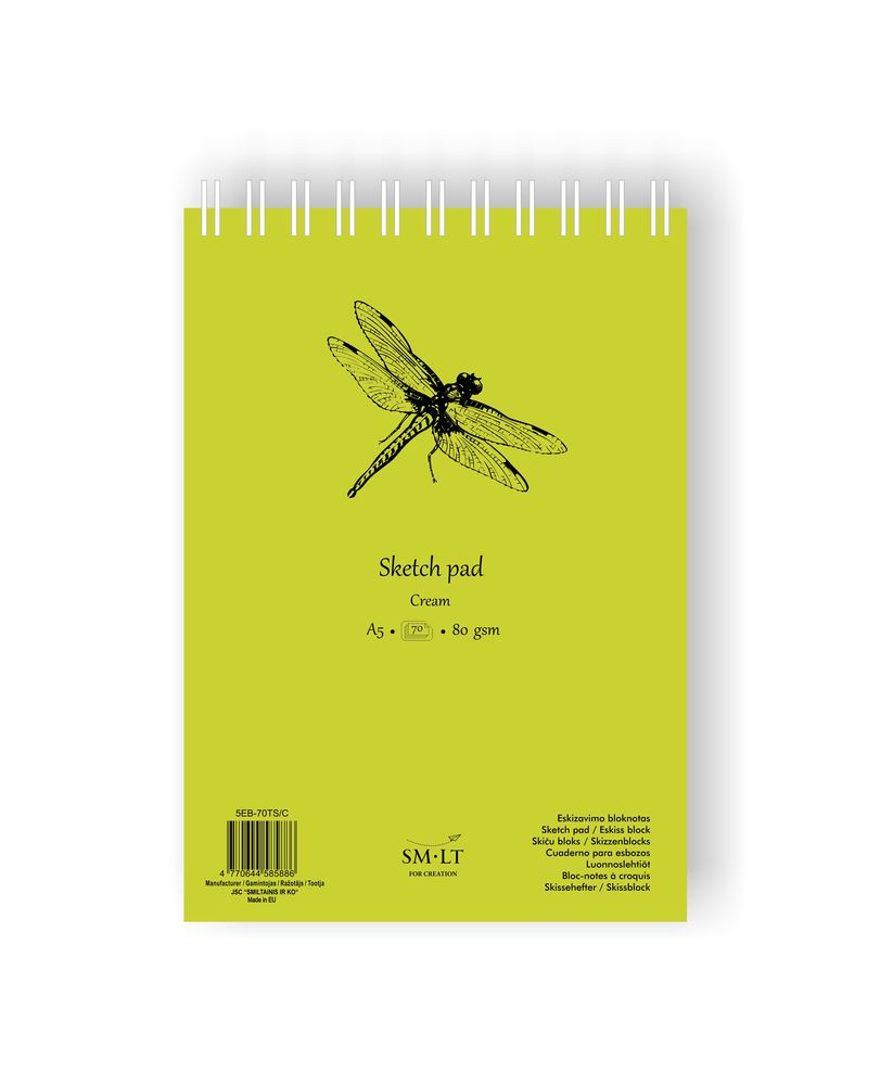 Скетчбук SKETCH PAD CREAM 80г/кв.м (А5) 148х210мм 70л. на спирали по 405.00 руб от SM-LT