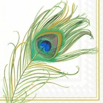 салфетка для декупажа 33х33см перо павлина цена 15 00 руб