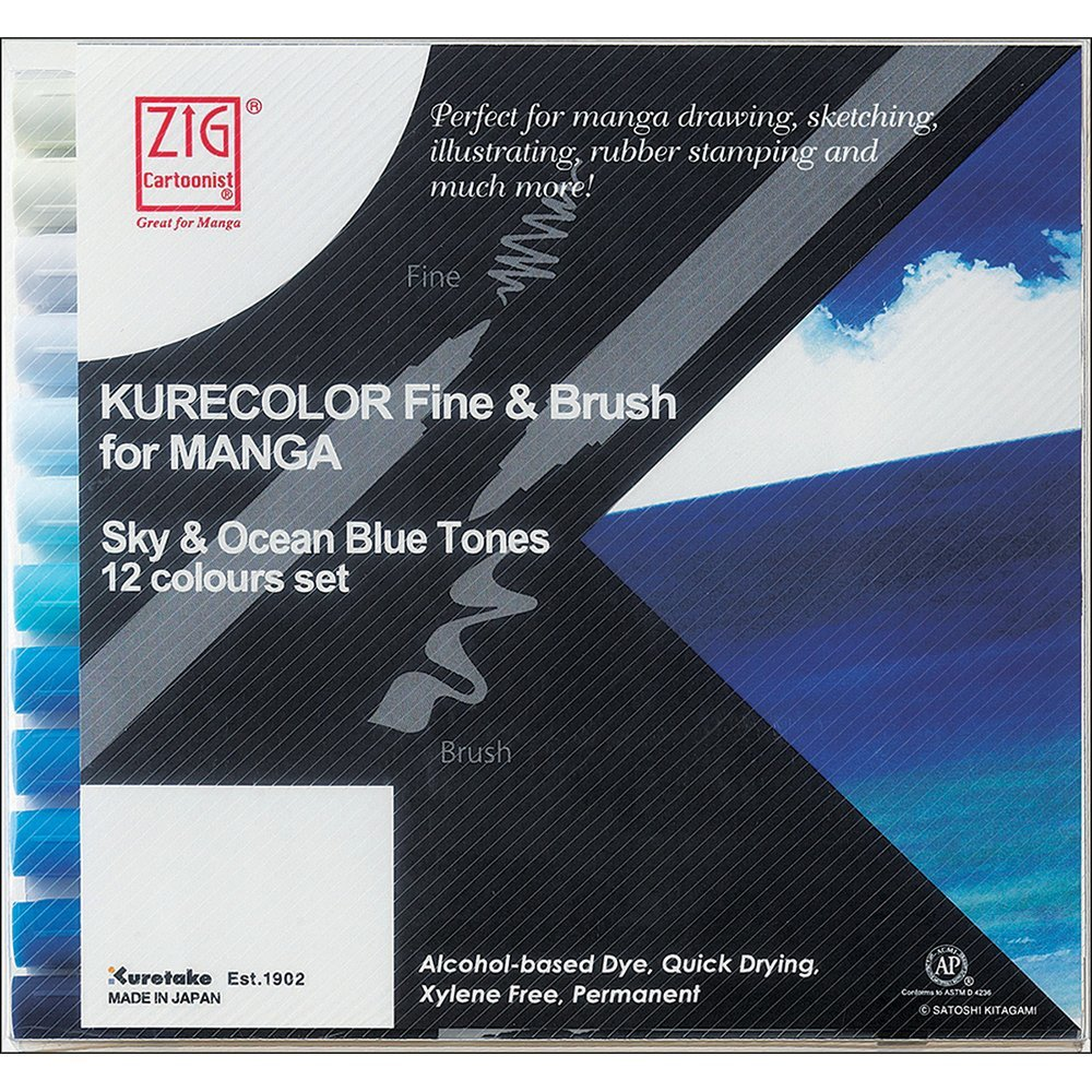 Набор маркеров Kurecolour FINE & BRUSH FOR MANGA 12шт. Sky & Ocean Blue Tone по  от ZIG Kuretake
