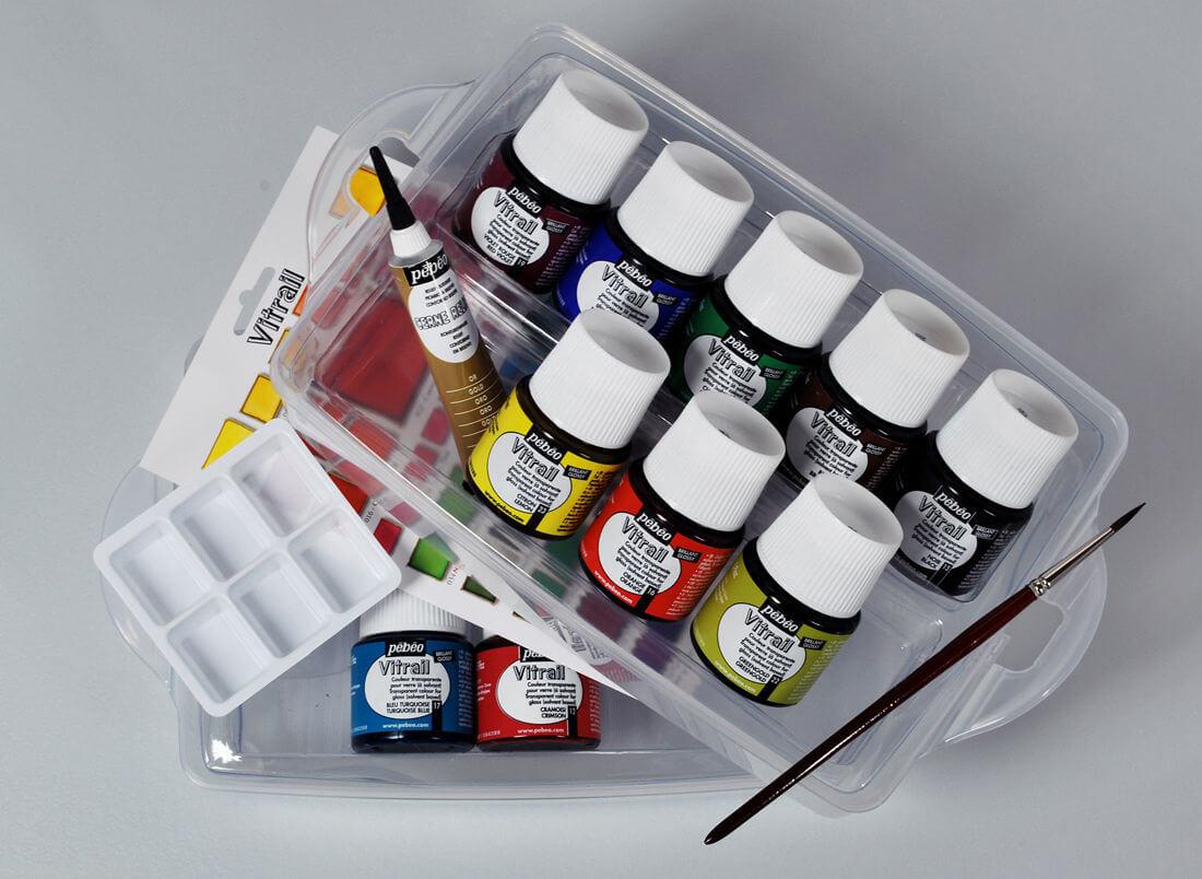 Набор красок по стеклу PEBEO VITRAIL WORKBOX 10шт по 45мл цена 3