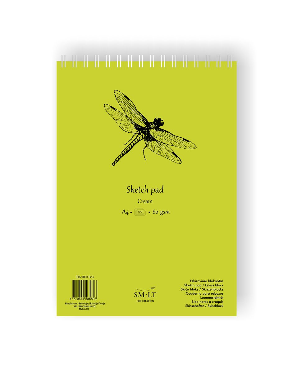 Скетчбук SKETCH PAD CREAM 80г/кв.м (А4) 210х297мм 100л. на спирали по 1 017.00 руб от SM-LT